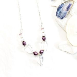Burgundy Pearls with Quartz Crystal Necklace